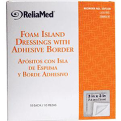 INDZDF33B-BX - Independence Medical - ReliaMed Sterile Latex-Free Foam Island Dressing with Adhesive Border 3 x 3 with 2 x 2 Pad, 10/BX