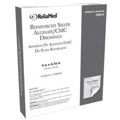 INDZSCA4475RF-BX - Independence Medical - Reliamed Reinforced Silver Alginate/CMC Dressing 4 x 4.75, 10/BX