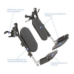 INVT94HEP - Invacare - Wheelchair Elevating Legrests