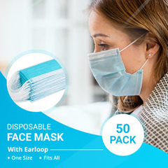ITAFM-101 - Ita-Med - 3-PLY Disposable Face Masks- 50 Count
