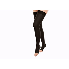 ITAGH-306-O-SBL - Ita-MedGABRIALLA® Open Toe Thigh Highs - Black, Small
