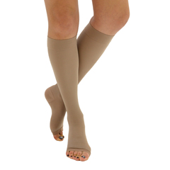 ITAIH-304-O-LB - Ita-Med - Open Toe Knee Highs - Beige, Large