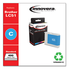 IVR20051C - Innovera Remanufactured LC51C Ink, 400 Page-Yield, Cyan