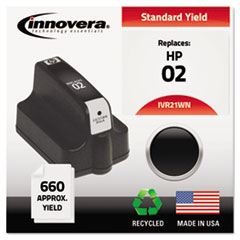 IVR21WN - Innovera Remanufactured C8721WN (02) Ink, 660 Page-Yield, Black