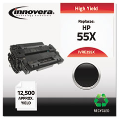 IVRE255X - Innovera Remanufactured CE255X (55X) Laser Toner, 12500 Yield, Black