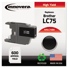 IVRLC75BK - Innovera Remanufactured High-Yield LC75B Ink, 600 Page-Yield, Black