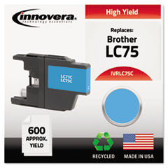 IVRLC75C - Innovera Remanufactured High-Yield LC75C Ink, 600 Page-Yield, Cyan