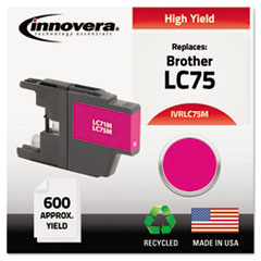 IVRLC75M - Innovera Remanufactured High-Yield LC75M Ink, 600 Page-Yield, Magenta