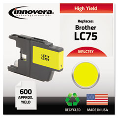 IVRLC75Y - Innovera Remanufactured High-Yield LC75Y Ink, 600 Page-Yield, Yellow