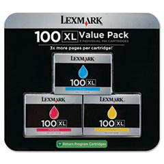 LEX14N0684 - Lexmark 14N0684 (100XL) High-Yield Ink, 600 Pg-Yield, 3/Pk, Cyan, Magenta, Yellow