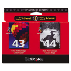 LEX18Y0372 - Lexmark 18Y0372 Ink, 500 Page-Yield, 2/Pack, Black; Tri-Color