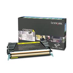 LEXC734A1YG - Lexmark C734A1YG Toner, Return Program, 6000 Page-Yield, Yellow