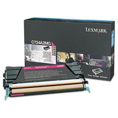 LEXC734A2MG - Lexmark C734A2MG Toner, 6000 Page-Yield, Magenta