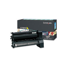 LEXC7700YH - Lexmark C7700YH High-Yield Toner, 10000 Page-Yield, Yellow