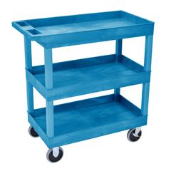 LUXEC111HD-BU - LuxorHigh Capacity 3 Tub Shelves Cart