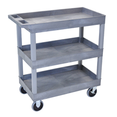 LUXEC111HD-G - Luxor - 3-Shelf High Capacity Tub Cart with Heavy Duty 5 Casters