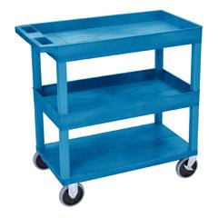 LUXEC112HD-BU - LuxorHigh Capacity 2 Tub and 1 Flat Shelf Cart