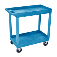 LUXEC11HD-BU - LuxorHigh Capacity 2 Tub Shelves Cart