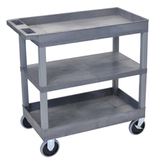 LUXEC121HD-G - Luxor18x32 Cart with 2 Tub Shelves and 1 Flat