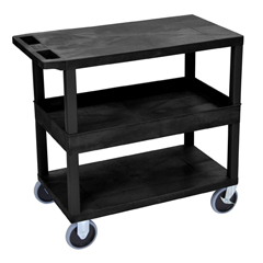 LUXEC212HD-B - Luxor18x32 Cart with 2 Flat/1 Tub Shelves