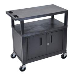LUXEC34C-B - LuxorUtility Cart w/Cabinet