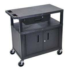 LUXEC34CD-B - LuxorUtility Cart w/Cabinet