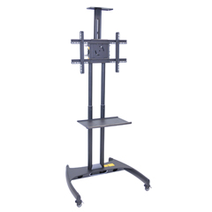 LUXFP2750 - LuxorFP2750 Series Adjustable Flat Panel Cart with Shelf & Camera Mount