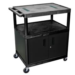 LUXLE40C-B - Luxor - 40H AV Cart - Three Shelves, Cabinet