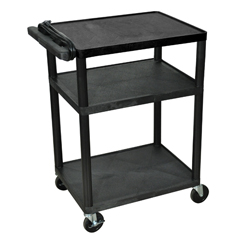 LUXLP34E-B - Luxor - 34 Plastic Shelf Cart & Stand with Electric Surge