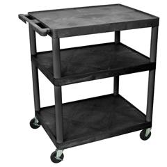 LUXLP40-B - Luxor - 40H AV Cart - Three Large Shelves