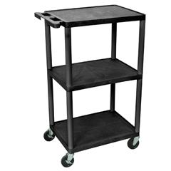 LUXLP42-B - Luxor - 42H AV Cart - Three Shelves