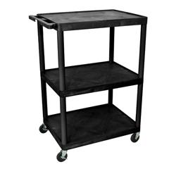 LUXLP48-B - Luxor - 48H AV Cart - Three Shelves