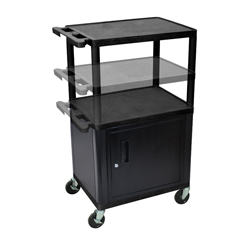 LUXLPDUOC-B - LuxorMulti-Height Endura 3-Shelf AV Cart with Cabinet