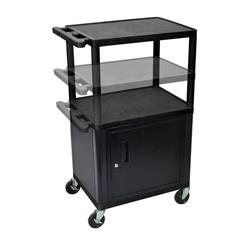 LUXLPDUOCE-B - LuxorMulti-Height Endura 3-Shelf AV Cart with Cabinet & Electric
