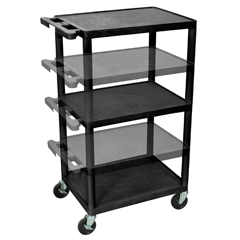 LUXLPDUO-B - LuxorMulti-Height AV Cart 3 Shelves