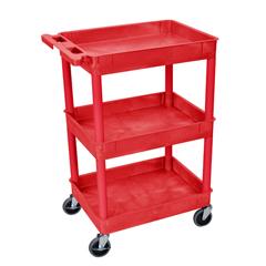 LUXRDSTC111RD - Luxor - 3-Shelf Tub Cart