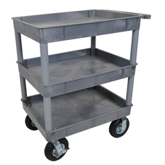 LUXTC111P8-G - LuxorGray 3 Tub Cart W/ P8 Casters