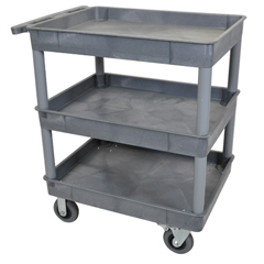 LUXTC111SP6-G - LuxorGray 3 Tub Cart W/ SP6 Casters