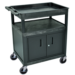 LUXTC122C-B - Luxor - Large Tub Top and Flat Shelf Cart w/Cabinet