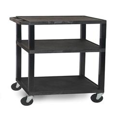 LUXWT34E-B-BLACK - Luxor - 3-Shelf Tuffy Cart - 34 Tall