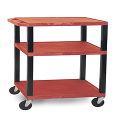 LUXWT34E-B-RED - Luxor - 3-Shelf Tuffy Cart - 34 Tall