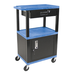 LUXWT42BUC2E-B-WTD - LuxorMultipurpose Utility Cart with Cabinet & Drawer