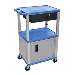 LUXWT42BUC4E-N-WTD - LuxorMultipurpose Utility Cart with Cabinet & Drawer