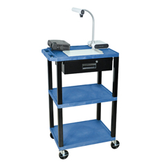 LUXWT42BUE-B-WTD - LuxorMultipurpose Utility Cart with Drawer