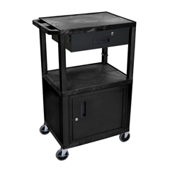 LUXWT42C2E-B-WTD - LuxorMultipurpose Utility Cart with Cabinet & Drawer