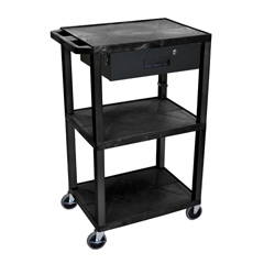 LUXWT42E-B-WTD - LuxorMultipurpose Utility Cart with Drawer
