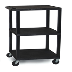 LUXWT42E-B-BLACK - Luxor - 3-Shelf Tuffy Cart - 42 Tall