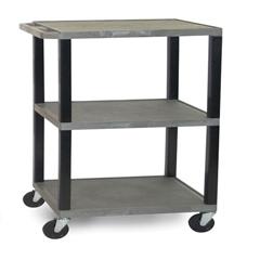 LUXWT42E-B-GRAY - Luxor - 3-Shelf Tuffy Cart - 42 Tall