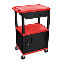 LUXWT42RC2E-B-WTD - LuxorMultipurpose Utility Cart with Cabinet & Drawer