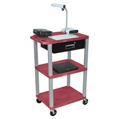LUXWT42RE-N-WTD - LuxorMultipurpose Utility Cart with Drawer